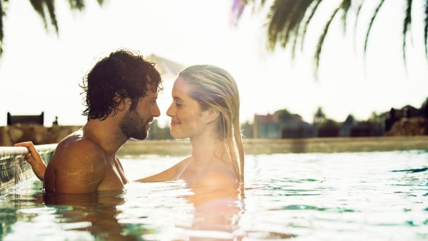 Couple in hotel pool