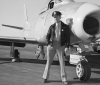 Air Force Captain Charles Yeager in front of his supersonic jet on Jan.18.