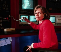 """Sylvia Earle listens to data from the """"Bandit,"""" a tethered robot used by oil companies for work on the sea floor."""
