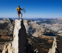 Conrad Anker standing on Cathedral Peak.