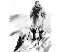 Norwegian explorer Roald Amundsen on the road towards Antarctic around 1911.