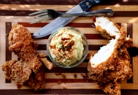 Southern fried chicken with potato salad