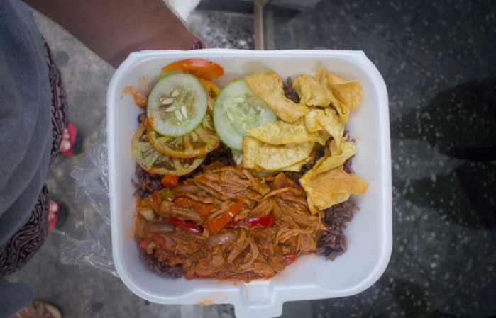 Try a heaping serving of ropa vieja, Cuba's marquee shredded beef dish, for a little over $1 at Toke. Photo courtesy of Kade Krichko.