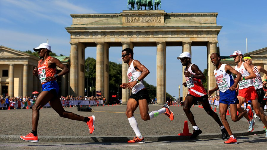 A general view in the Men's Marathon Final during day six of the 24th European Athletics Championships at Olympiastadion on August 12, 2018 in Berlin, Germany. This event forms part of the first multi-sport European Championships. (Photo by Stephen Pond/Getty Images for European Athletics)