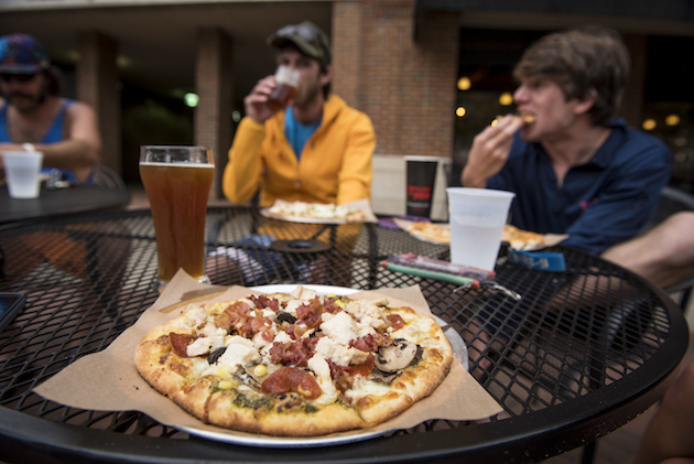 Refueling after a surf session at Your Pie in uptown Columbus. Photo by Aaron Schmidt.