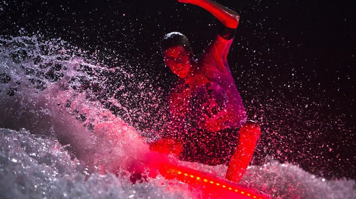 Justin Becret looking like he's in an 80s horror flick. Photo: Courtesy of Antoine Justes/WSL