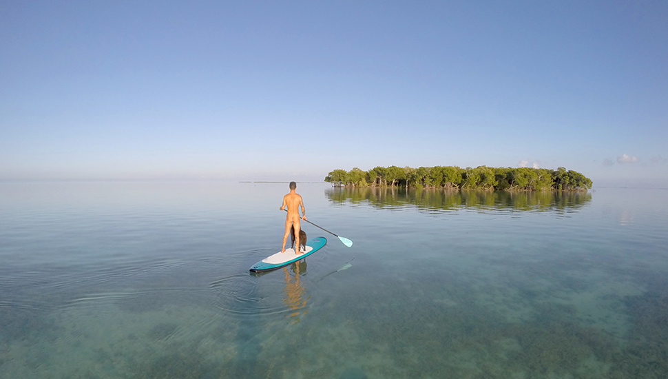 Co-owner of Nomadic SUP, Ryan Saca, explores the natural surroundings of Key West. Photo: Cody White
