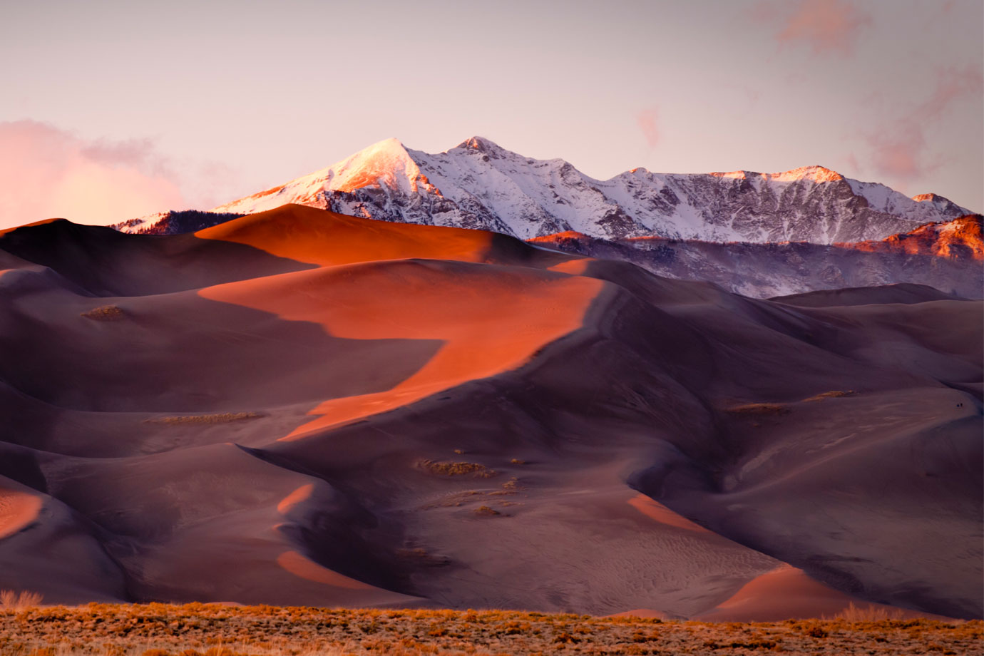 Sand dunes and mountain peaks
