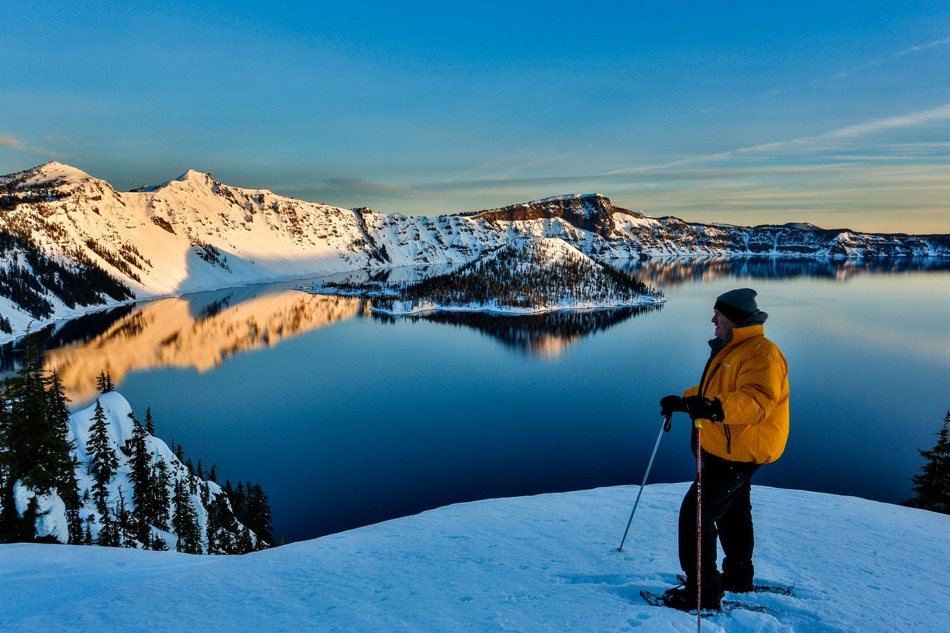 Snow shoeing at Crater Lake National Park