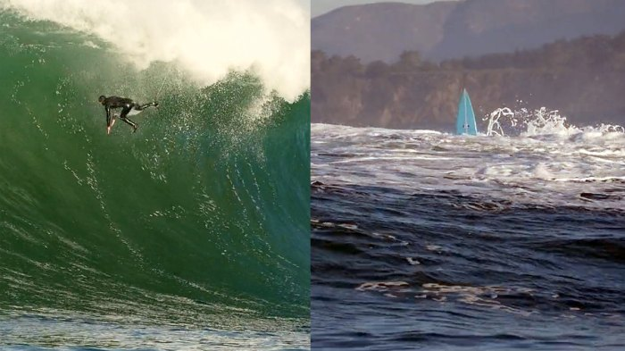 A wipeout like this at Mavericks will almost certainly give way to tombstoning.