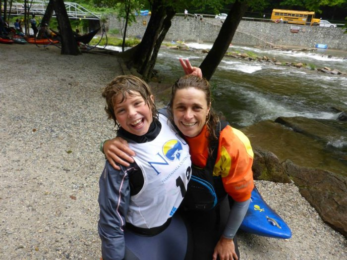 Maria Noakes and her son, Matteo, paddle together on their home run the Nantahala in North Carolina.