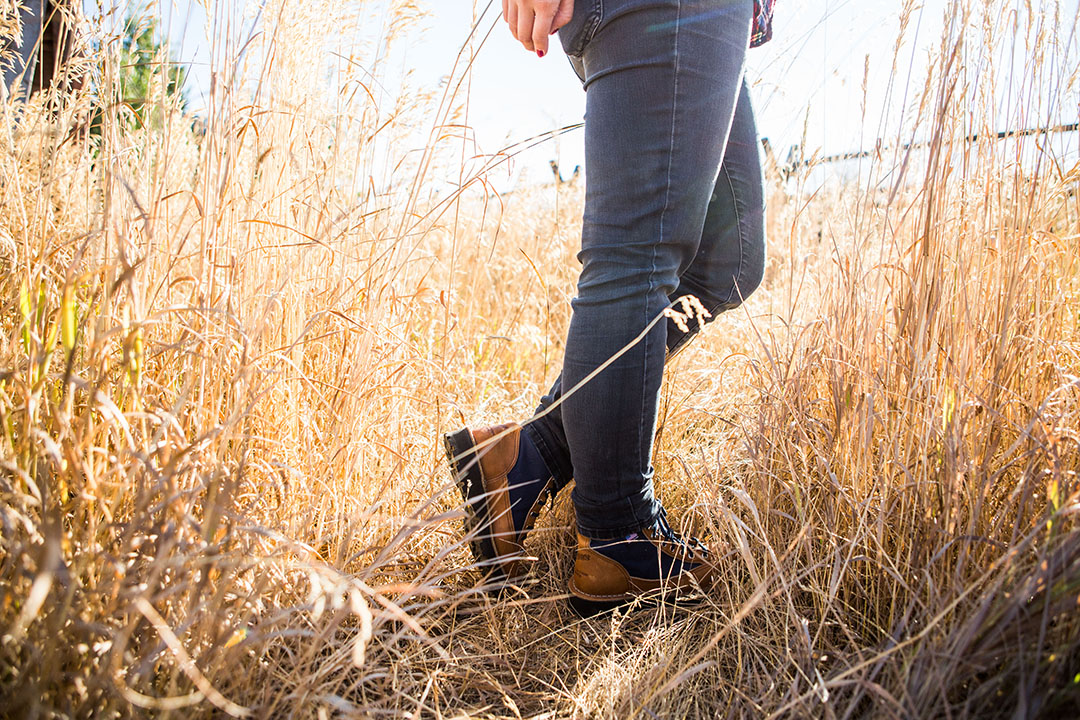 """Skinner (here wearing the Danner Light Cascade) says part of her job is staying in shape. """"When my body's not working, I can't be as fast or proficient."""" Photo: Becca Skinner."""