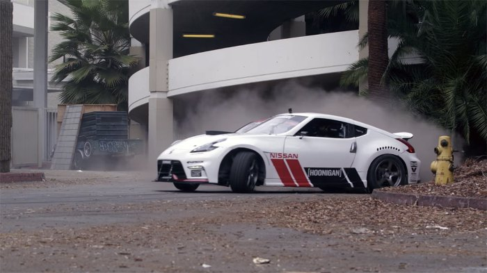 Chris Forsberg coming out of the mall drift, with Ryan Tuerck following behind. Photo: YouTube