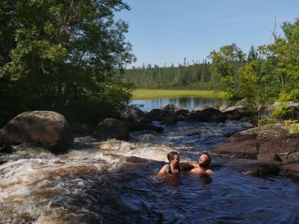 Relaxing in the jacuzzi in the rapids just upstream of the wild rice.