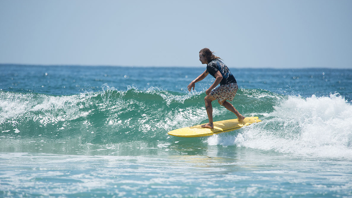 """Trying out the 5'7"""" INT swallow tail. Photo: Courtesy of SURFER"""