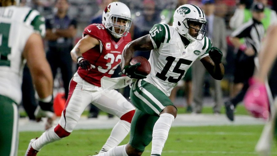 Jets Cardinals Football, Glendale, USA - 17 Oct 2016 New York Jets wide receiver Brandon Marshall (15) makes a catch as Arizona Cardinals free safety Tyrann Mathieu (32) pursues during the first half of an NFL football game, in Glendale, Ariz 17 Oct 2016 Image ID: 6349857r Featured in: Jets Cardinals Football, Glendale, USA - 17 Oct 2016 Photo Credit: Rick Scuteri/AP/Shutterstock