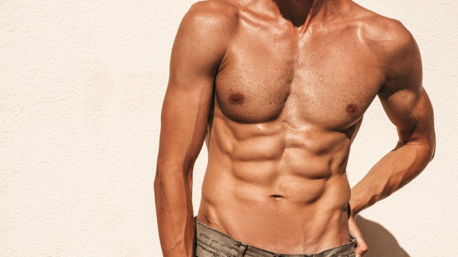 Shirtless man with six-pack abs