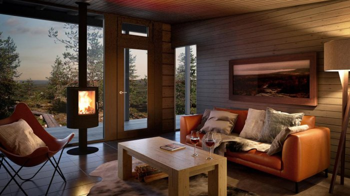 We could definitely envision cozying up by this fire. Photo: Courtesy of the Arctic Treehouse Hotel