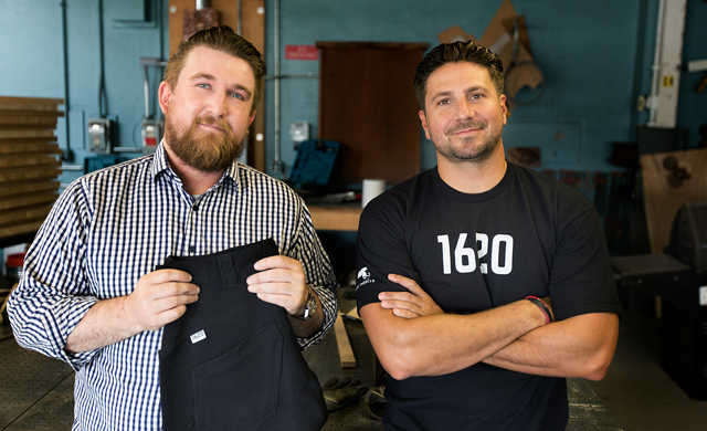 Ted De Innocents, who managed factories in China for the big outdoor clothing brands (left) and Josh Walker, founder of Bern Unlimited helmets, are getting into he work wear game. Photo: Courtesy Bern.