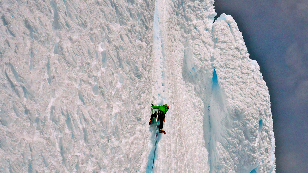Jess Roskelley on the final pitch of Cerro Torre via the Ragni Route.