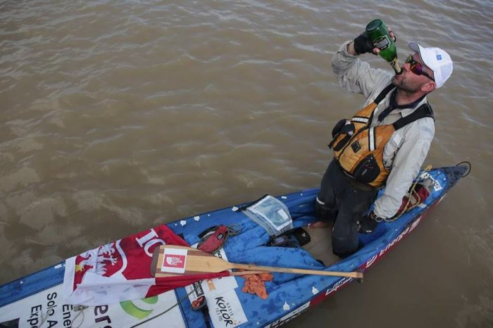 Good while it lasted: Marcin Gienieczko celebrates his Guinness-record Amazon paddle in 2015. Photo via Facebook.