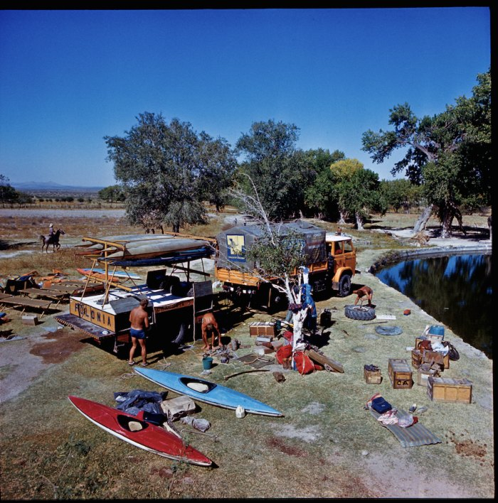 The team cleans gear in Northern Mexico in 1979 before crossing into the US. Photo by Zbigniew Bzdak
