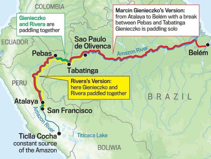 Gienieczko says he paddled the Amazon alone, while others question his claim.