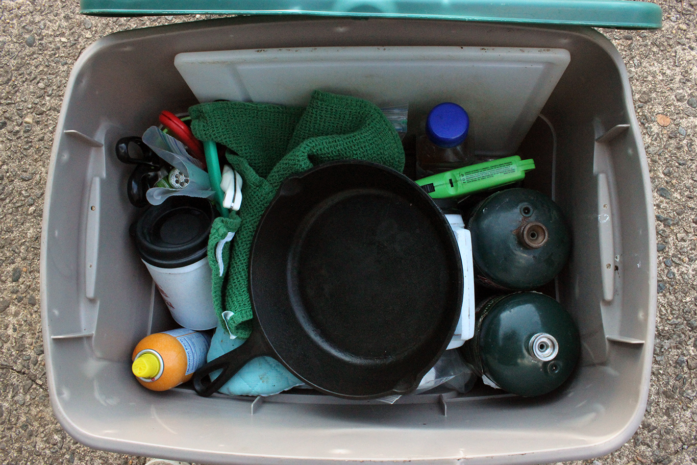 Store cooking supplies in a bin keep for travel on the road. Photo: Charli Kerns