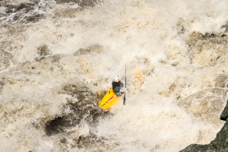Marco Guidi takes the hit at V-Drive on the Stikine.