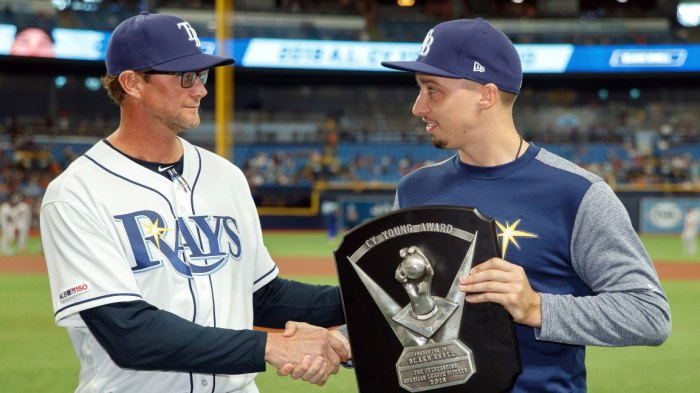 Astros Rays Baseball, St. Petersburg, USA - 30 Mar 2019 Tampa Bay Rays pitcher Blake Snell, right, receives the 2018 Cy Young Award from pitching coach Kyle Snyder prior to a baseball game against the Houston Astros, in St. Petersburg, Fla 30 Mar 2019 Image ID: 10182629b Featured in: Astros Rays Baseball, St. Petersburg, USA - 30 Mar 2019 Photo Credit: Mike Carlson/AP/Shutterstock