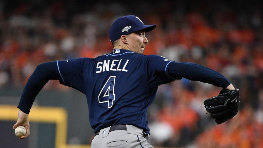 ALDS Rays Astros Baseball, Houston, USA - 05 Oct 2019 Tampa Bay Rays starting pitcher Blake Snell delivers to a Houston Astros batter during the first inning of Game 2 of a baseball American League Division Series in Houston 5 Oct 2019 Image ID: 10437227c Featured in: ALDS Rays Astros Baseball, Houston, USA - 05 Oct 2019 Photo Credit: Eric Christian Smith/AP/Shutterstock