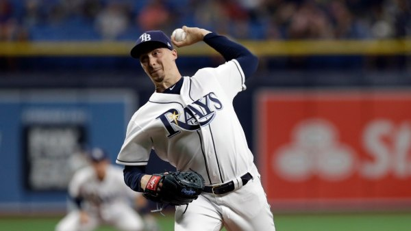 Rays Baseball, St. Petersburg, USA - 14 Jun 2019 Tampa Bay Rays starting pitcher Blake Snell during the first inning of a baseball game against the Los Angeles Angels, in St. Petersburg, Fla 14 Jun 2019 Image ID: 10315539a Featured in: Rays Baseball, St. Petersburg, USA - 14 Jun 2019 Photo Credit: Chris O'Meara/AP/Shutterstock