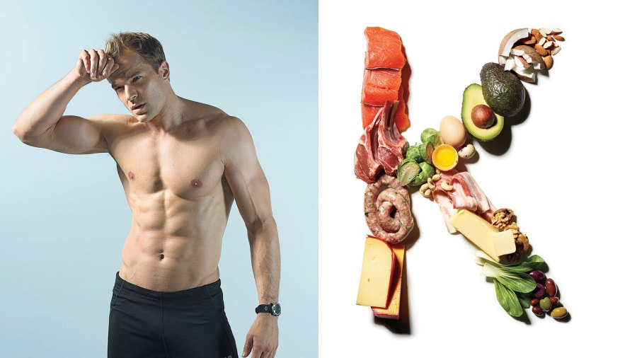Fit man with six-pack next to keto-friendly foods like salmon and avocado shaped to resemble the letter 'K'