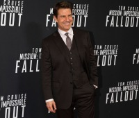 "Tom Cruise at the premiere of ""Mission Impossible: Fallout"" in July 2018"