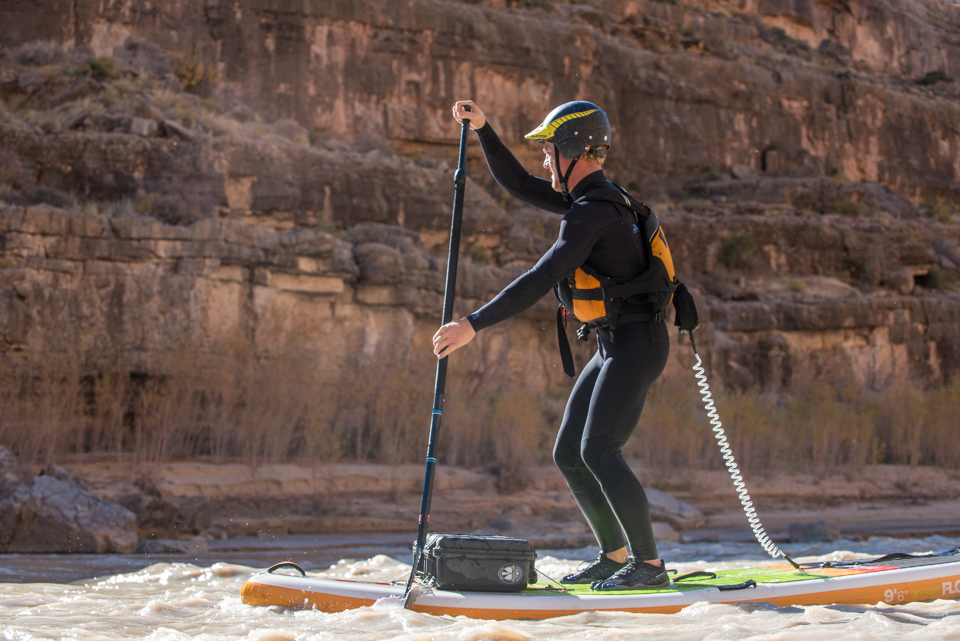 SUP mag digital editor Mike Misselwitz, putting the 3T Barefoot Warriors through the ringer on the river. Photo: Black-Schmidt