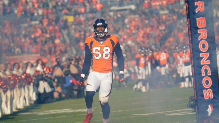 Raiders Broncos Football, Denver, USA - 29 Dec 2019 Denver Broncos outside linebacker Von Miller reacts before an NFL football game against the Oakland Raiders, in Denver 29 Dec 2019 Image ID: 10514528bp Featured in: Raiders Broncos Football, Denver, USA - 29 Dec 2019 Photo Credit: Jack Dempsey/AP/Shutterstock