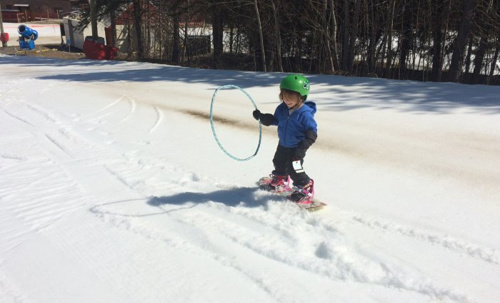 You may not like riding spring conditions, but your kid will. Photo: Coen.