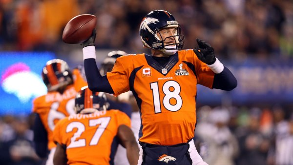 Quarterback Peyton Manning #18 of the Denver Broncos looks to pass against the Seattle Seahawks during Super Bowl XLVIII at MetLife Stadium on February 2, 2014 in East Rutherford, New Jersey. (Photo by Jeff Gross/Getty Images)