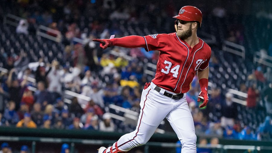 Bryce Harper #34 of the Washington Nationals hits a two-run home run against the Chicago Cubs during the seventh inning of game two of a doubleheader at Nationals Park on September 8, 2018 in Washington, DC. (Photo by Scott Taetsch/Getty Images)