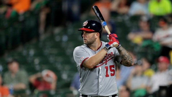 Nationals Orioles Baseball, Baltimore, USA - 17 Jul 2019 Washington Nationals' Matt Adams waits in the on deck circle against the Baltimore Orioles during the eighth inning of a baseball game, in Baltimore. The Orioles won 9-2 17 Jul 2019 Image ID: 10342586an Featured in: Nationals Orioles Baseball, Baltimore, USA - 17 Jul 2019 Photo Credit: Julio Cortez/AP/Shutterstock
