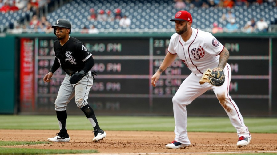 White Sox Nationals Baseball, Washington, USA - 05 Jun 2019 Chicago White Sox's Leury Garcia, left, takes a lead from first base in front of Washington Nationals first baseman Matt Adams during an interleague baseball game, in Washington 5 Jun 2019 Image ID: 10286407k Featured in: White Sox Nationals Baseball, Washington, USA - 05 Jun 2019 Photo Credit: Patrick Semansky/AP/Shutterstock
