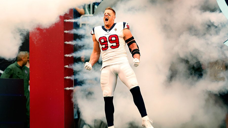 J.J. Watt #99 of the Houston Texans enters the field before the game against the New York Giants at NRG Stadium on September 23, 2018 in Houston, Texas. (Photo by Tim Warner/Getty Images)