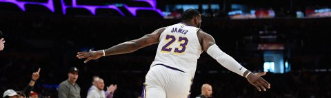 LeBron James #23 of the Los Angeles Lakers celebrates after a slam dunk against the Phoenix Suns during the second half at Staples Center on December 2, 2018 in Los Angeles, California. NOTE TO USER: User expressly acknowledges and agrees that, by downloading and or using this photograph, User is consenting to the terms and conditions of the Getty Images License Agreement. (Photo by Kevork Djansezian/Getty Images)