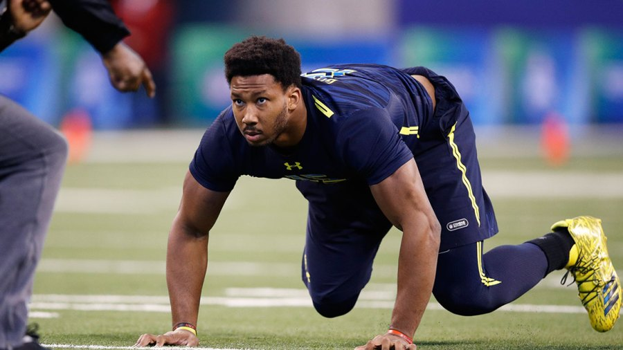 Defensive lineman Myles Garrett of Texas A&M participates in a drill during day five of the NFL Combine at Lucas Oil Stadium on March 5, 2017 in Indianapolis, Indiana. (Photo by Joe Robbins/Getty Images)