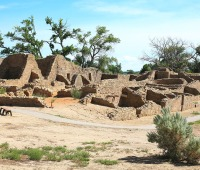 The Aztec Ruins are actually the remains of a 900-year-old Pueblo Indian Great House in New Mexico.