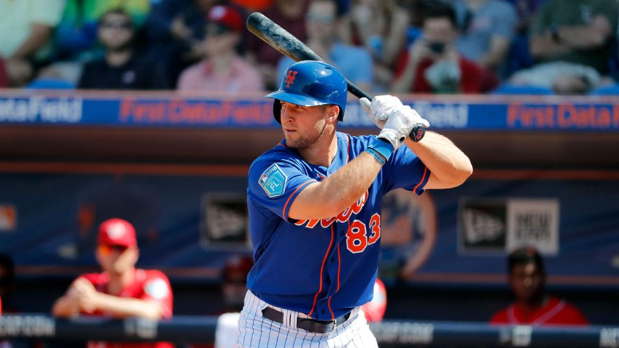 Nationals Mets Spring Baseball, Port St. Lucie, USA - 02 Mar 2018 New York Mets' Tim Tebow bats during the second inning of an exhibition spring training baseball game against the Washington Nationals, in Port St. Lucie, Fla 2 Mar 2018