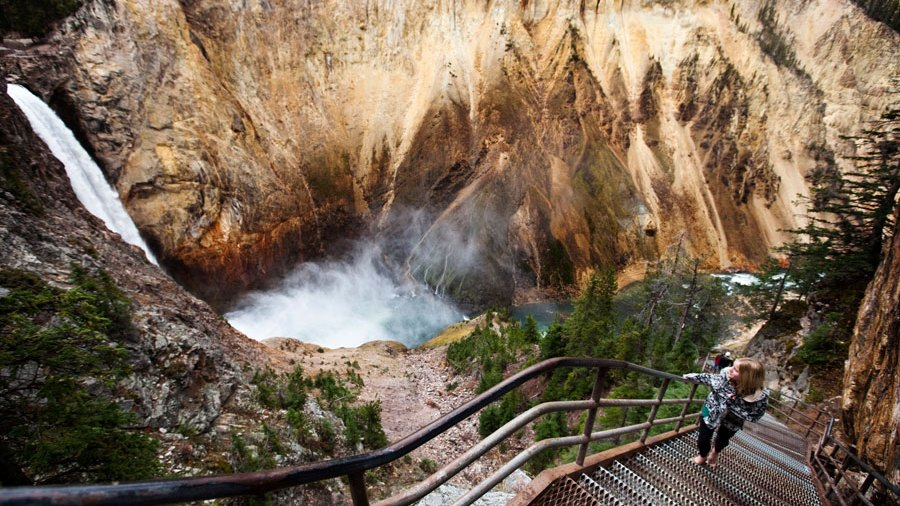 overlook of Yellowstone Falls in Yellowstone National Park, Wyoming.