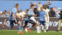 New York City FC defender Sebastien Ibeagha during an MLS soccer match against FC Cincinnati, in New York. NYCFC wins 5-2