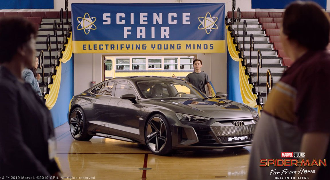 spider man takes on the science fair with the audi e tron gt concept car in far from home audi e tron gt concept car