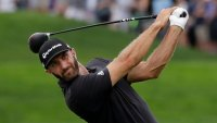BMW Championship Golf, Medinah, USA - 17 Aug 2019 Dustin Johnson watches his tee shot on the 18th hole during the third round of the BMW Championship golf tournament at Medinah Country Club, in Medinah, Ill 17 Aug 2019